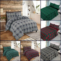 Tartan Duvet Set With Pillowcase Flannel Bed Sheet Single Double Super King Size