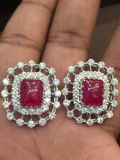 Pave 17.25 Cts Natural Diamonds Ruby Stud Earrings In Solid Certified 14K Gold
