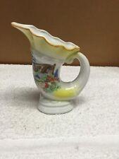 Vintage Ceramic Horn Shaped Vase With House And Floral Design