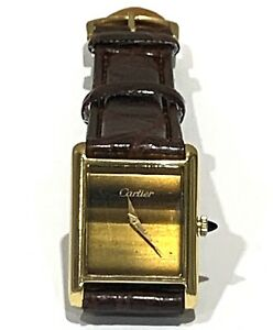 Vintage CARTIER Rare Manual Wind Watch With Tiger's Eye Dial
