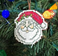 Completed Handmade Cross Stitch Christmas Ornament-Santa Claus-Vintage Face-New