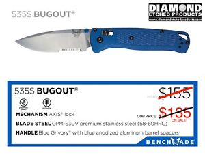 BENCHMADE 535S BUGOUT CPM-S30V AXIS LOCK, BLUE HANDLE KNIFE W/Free Shipping