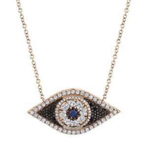 Diamond Sapphire All Seeing Eye 14k Rose Gold Natural Black & White Round Cut
