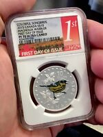 2015 $10 Canada Colorful Songbirds Magnolia Warbler NGC PF70 First Day of Issue