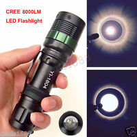 8000LM Zoomable CREE XM-L Q5 LED Flashlight 3 Mode Torch Super Bright Light Lamp
