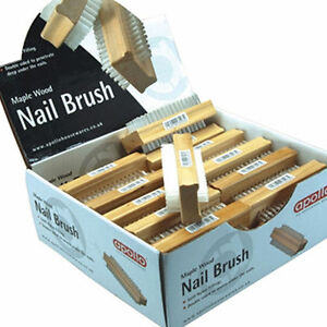 Apollo Maple Wooden Nail Brush DoubleSided Stiff Nylon Bristles Grooming Filters