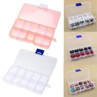 10 Grid Plastic Adjustable Jewelry Ring Storage Box Case Craft Beads Organizer