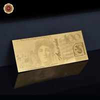 WR 24K Gold Plated Australian $100 Dollar Bank Notes Novelty Banknote Money Rare