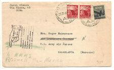 Italy Italian Parliament To Casablanca APO Forward To USA  1946-1947