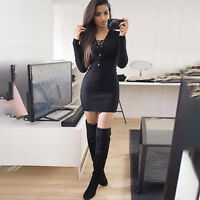 Women's Long Sleeve Jumper Sweater Knitted Long Tops Party Bodycon Mini Dress