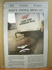 vintage Bud Budweiser beer poster Spuds Mackenzie Party animal bites it! 3367
