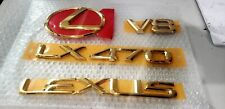FITS New Lexus LX470 Emblem Rear KIT Trunk Word Gold 1998 1999 2000 2001 2002