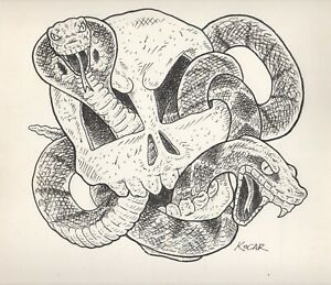 #1767- Original Pen & Ink George Kocar Illustration of Skull and Snake