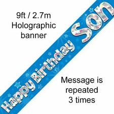 Happy Birthday Son Party Banner 270cm Long Repeats 3 Times Holographic Blue