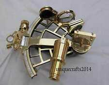 """SOLID SHINY BRASS VINTAGE SEXTANT 9"""" WORKING CHRISTMAS GIFT."""