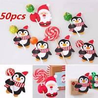 50pcs Mini Lollypop Santa Claus Penguin Lollipop Sticks Party Christmas Decors