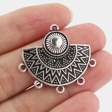 10 Antique Silver Ethnic Pendant Connector Half Circle Metal Boho Charms 5 Loops