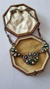 Vintage Art Deco Filigree Czech Heliotrope Glass & Pearl Necklace