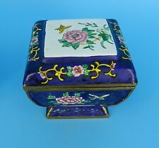China Cloisonne Footed Lidded Dresser Trinket Box Rose Flower Design Butterfly
