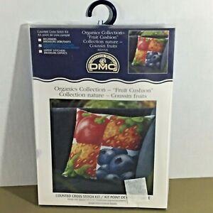 "Fruit Cushion cross stitch kit 15x15"" square pillow DMC Organics strawberry new"