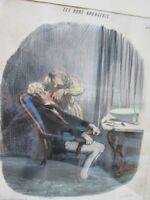 Vintage Print,Les BONS BOURGEOIS,Color Litho,DAUMIER,C.1860,Framed,Caricature