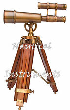 "Marine Nautical Navy Brass Double Barrel Telescope 14"" With Wooden Tripod Stand"