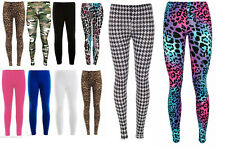 Girls Kids Full Length Plain Fitted Viscose Stretchy Leggings Teens Ages 2 to 13