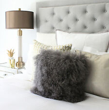 "SMOKE GREY MONGOLIAN SHEEPSKIN FUR CUSHION PILLOW COVER 40cm 16"" TIBETAN"