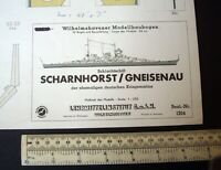 1950s Lehrmittelinstitut Wilhelmshaven #1204 Battle Ship Scharnhorst Cut-Out Kit