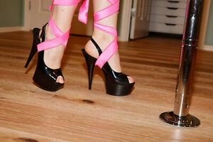BNIB Pleaser Delight-654 Black Slingback Platform Stiletto Heel Size 8