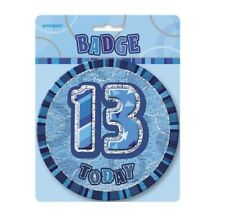 """Blue Glitz 13 Today 6"""" Giant 13th Birthday Badge Party Badges Decorations"""