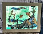 "Original Pressed Leaf Green Watercolor Collage ""Emerald Seas"" By L Morris"