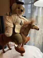 """Handmade Mohair Artist Bear """"Robinhood"""" with Horse Real Fur One of a Kind"""