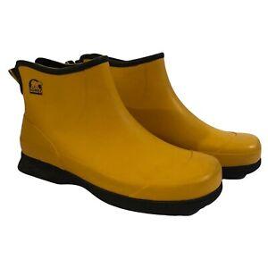 SOREL Womens Sz 10 Flood Plain Chukka Rain boots Waterproof Ankle Yellow Rubber