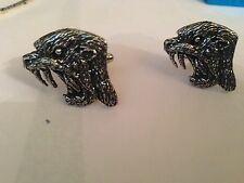 Sabre-Toothed Cat TTP English Pewter Cufflinks Handmade In Sheffield