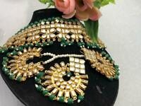GOLD PLATED KUNDAN BEAUTIFUL ANTIQUE CHOKER SET IN GREEN COLOR + EARRING & TIKKA