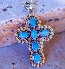 Wonderful Dominican Larimar Cross set in Pure 925 Sterling Silver Pendant