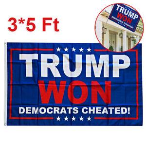 Donald Trump Flag Trump Won Dem Cheated 3x5ft Banner Home Garden Flag Banner