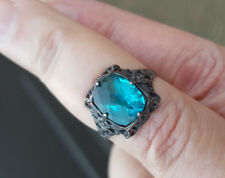 OLD TEAL SPINEL/ZIRCON RING IN AMAZING 925 STERLING FILIGREE SETTING SIZE 6.75