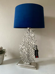 LAMPENFUSS rund H 49 cm Alu SILBER Tischleuchte modern Design E27 max 60W NEU