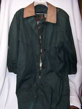 Vintage Raincoat/Trench Coat by J. Gallery Green 11/12 Petite, lined Leather