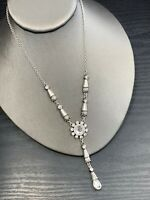 "Vintage Mute Silver Flower Rhinestone Drop Pendant Delicate Pretty Necklace 18"""