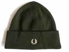 FRED PERRY Hunting Green Wool Cuff Beanie Toque Hat OSFA New Genuine Original