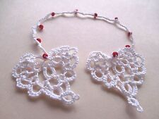 Dove Country Tatted Bookmark Heart to Heart White Red Beads Lacey Tatting