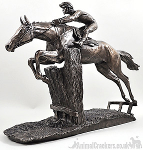 Large 33cm heavy David Geenty At Full Stretch bronze racehorse ornament figurine