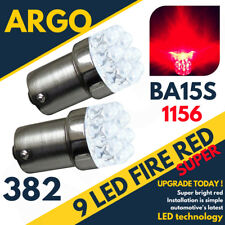 2 x RED 9 LED 382 BA15S 1156 P21W 12V STOP BRAKE FOG LIGHT BULBS BRIGHT XENON