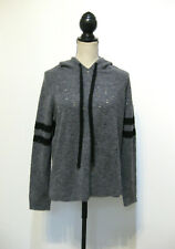 Central Park West Gray Striped Perforated Hooded Sweater Size Small