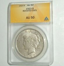 1923 US $1 Peace Dollar Coin Graded ANACS AU 50 Rotated Dies Error Coin Rare