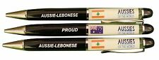 *DISCOUNTED* PROUD AUSSIE - LEBANESE AUSTRALIAN METAL PEN GIFT FLOATING FLAG