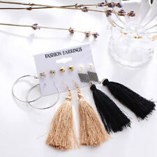 6 Pairs/set Women Ear Studs Long Tassel Drop Earrings Set Jewelry Gifts Fashion